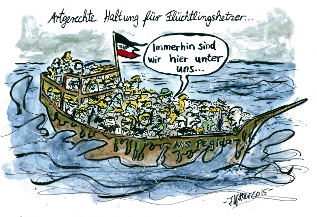 Cartoon-Flüchtlingsboot