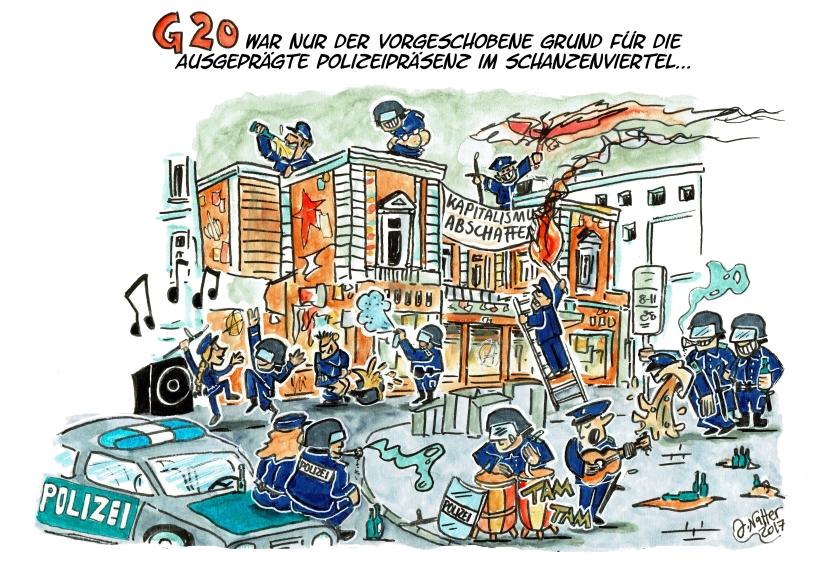 G20 Cartoon Schanze Polizei Hamburg