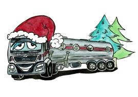 Weihnachtsmotiv für eine Spedition