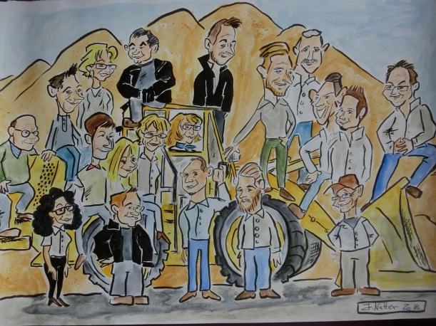 Radlader-Karikatur