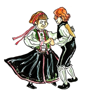 Traditioneller norwegischer Tanz-Norsk Folkemuseum